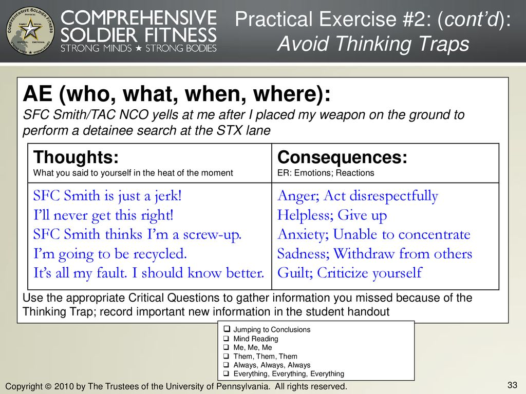 Practical Exercise #2: (cont'd): Avoid Thinking Traps