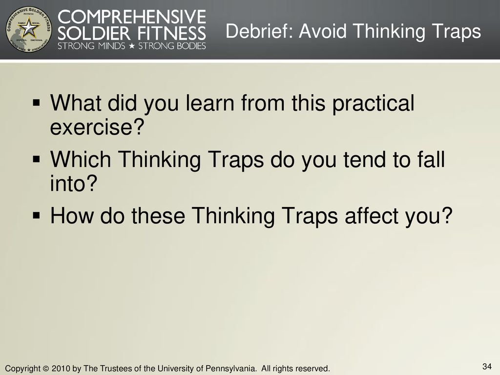 Debrief: Avoid Thinking Traps