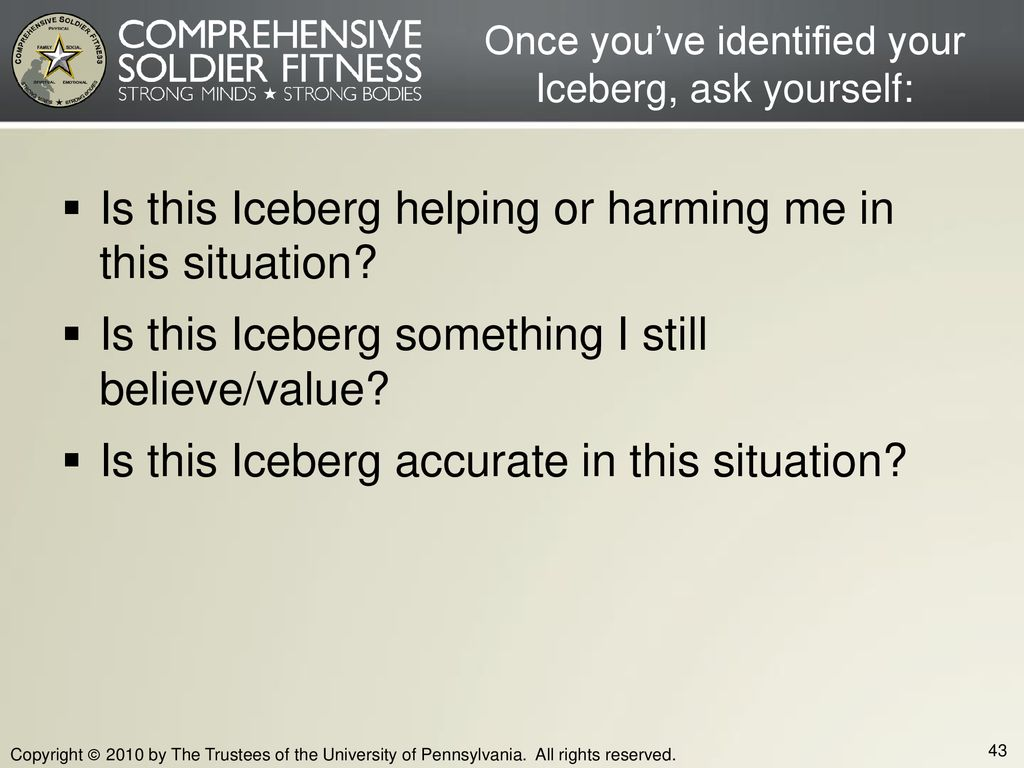 Once you've identified your Iceberg, ask yourself: