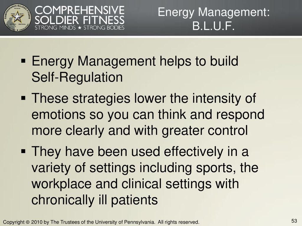 Energy Management: B.L.U.F.
