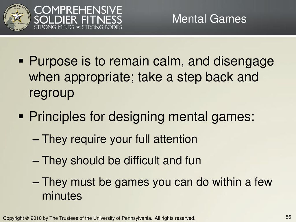 Principles for designing mental games: