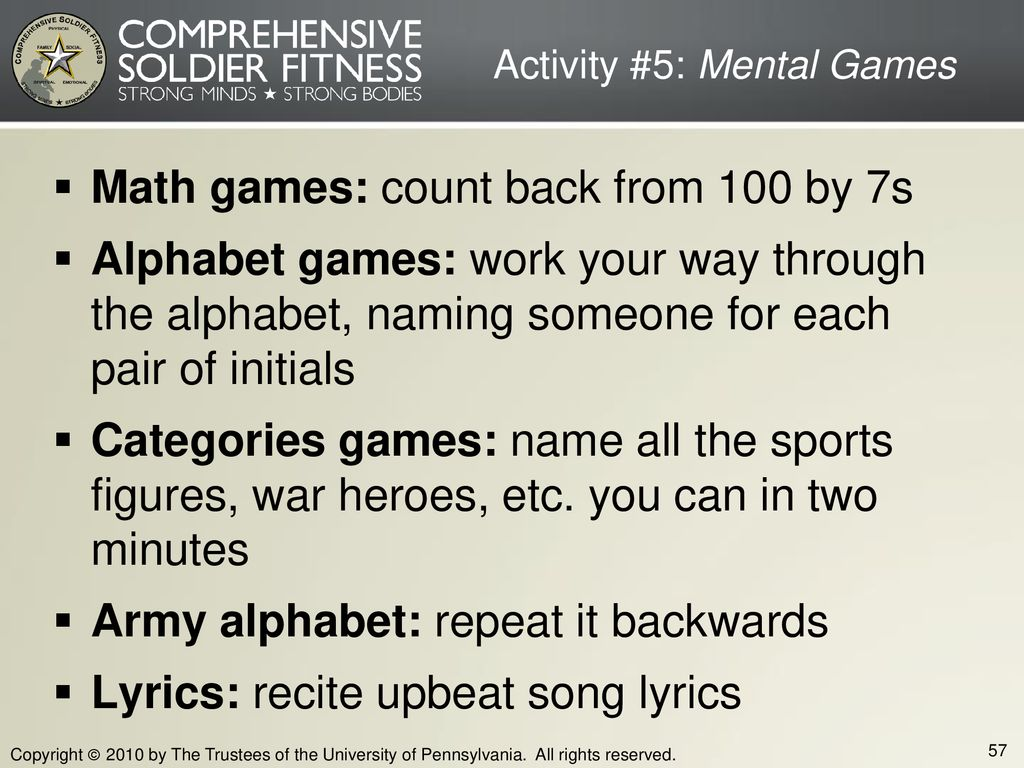 Activity #5: Mental Games