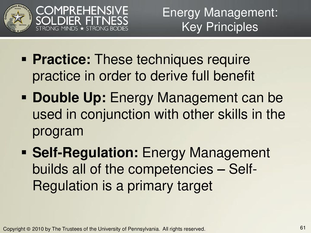 Energy Management: Key Principles