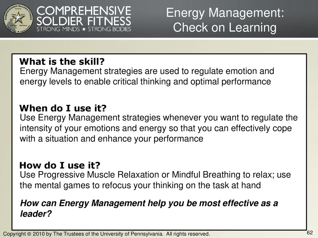 Energy Management: Check on Learning