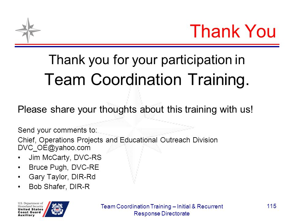 Thank You Team Coordination Training.