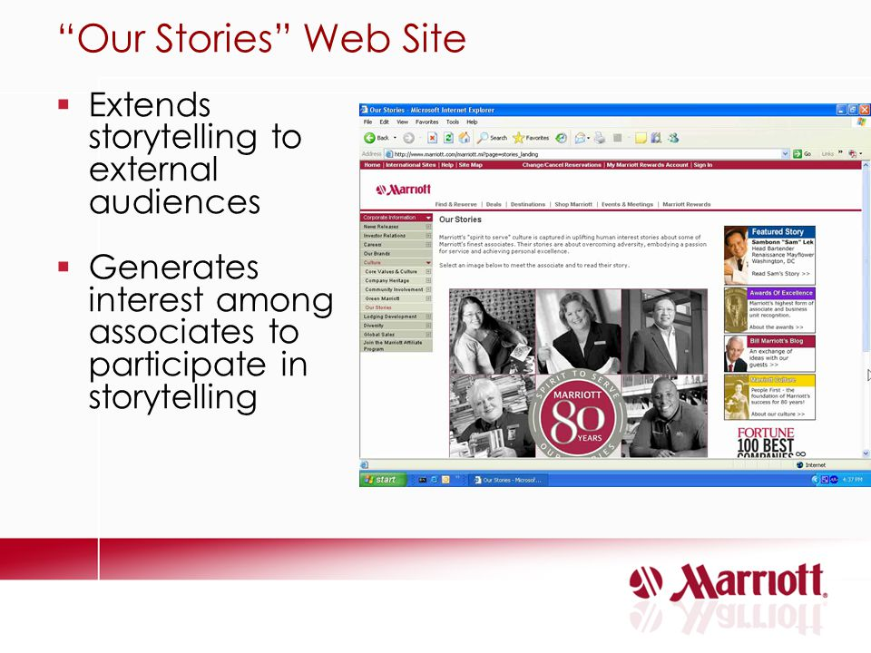 Our Stories Web Site Extends storytelling to external audiences