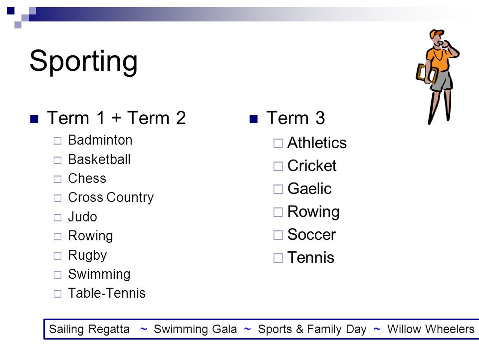 Sporting Term 1 + Term 2 Term 3 Athletics Cricket Gaelic Rowing Soccer