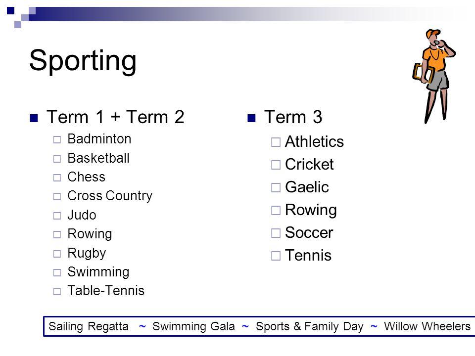 Sporting Term 1 + Term 2 Term 3 Athletics Cricket Gaelic Rowing Soccer