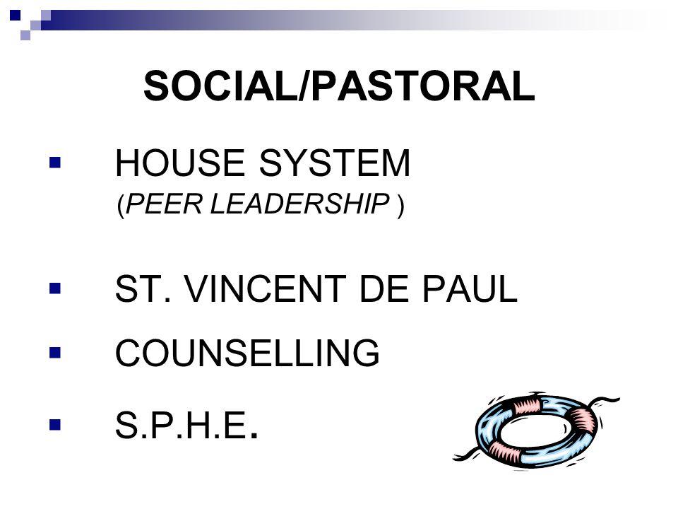 SOCIAL/PASTORAL HOUSE SYSTEM ST. VINCENT DE PAUL COUNSELLING S.P.H.E.