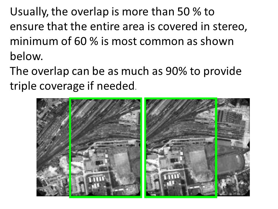 Usually, the overlap is more than 50 % to ensure that the entire area is covered in stereo, minimum of 60 % is most common as shown below.