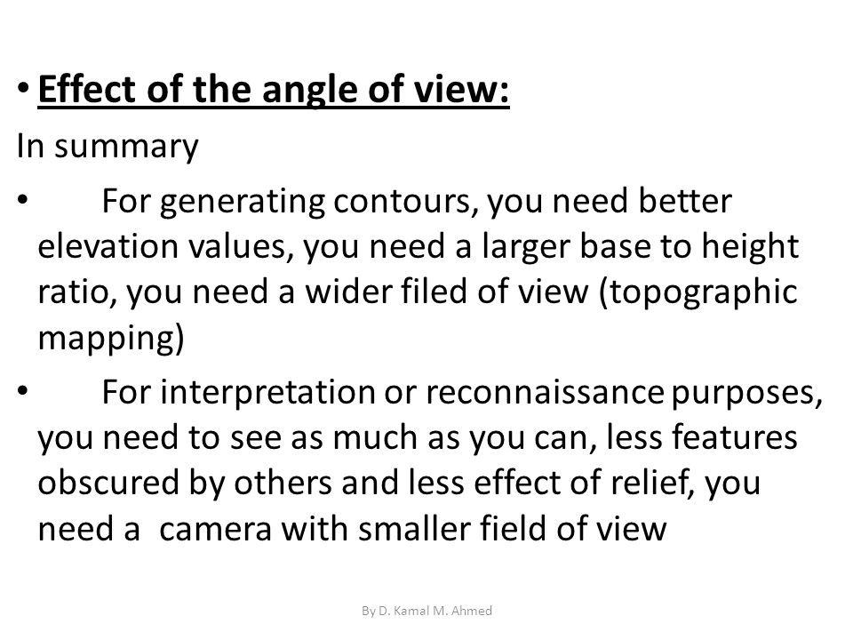 Effect of the angle of view: