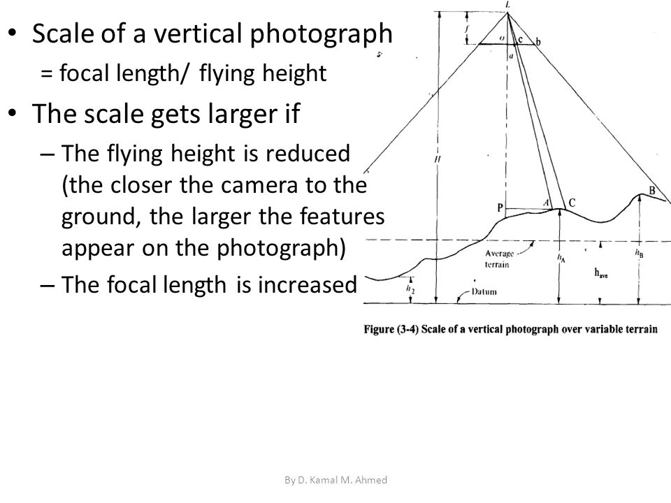 Scale of a vertical photograph The scale gets larger if