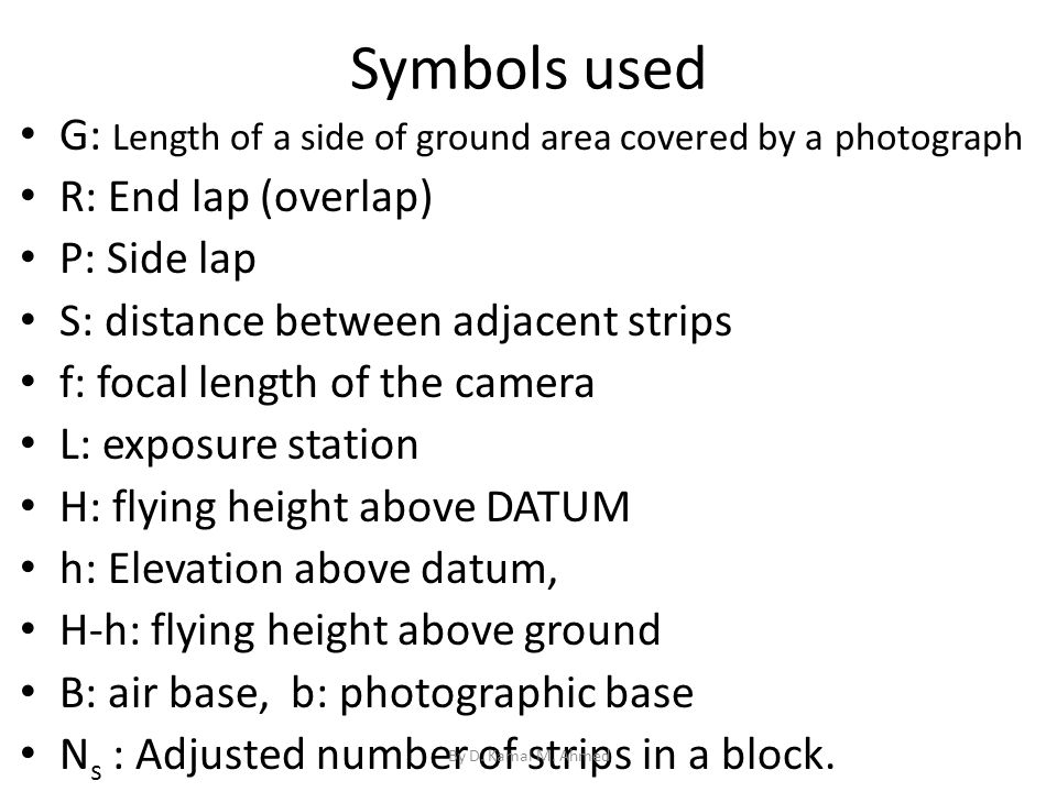 Symbols used G: Length of a side of ground area covered by a photograph. R: End lap (overlap) P: Side lap.