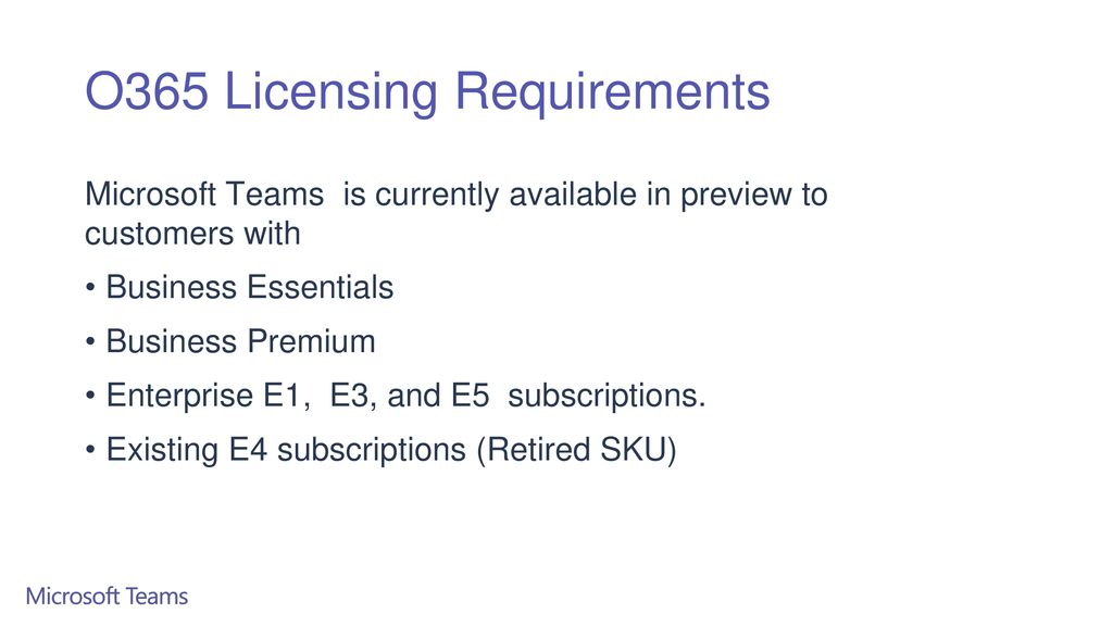 O365 Licensing Requirements
