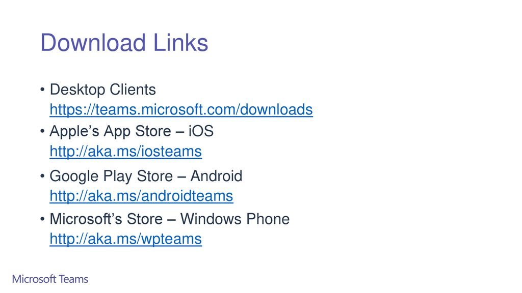 Download Links Desktop Clients