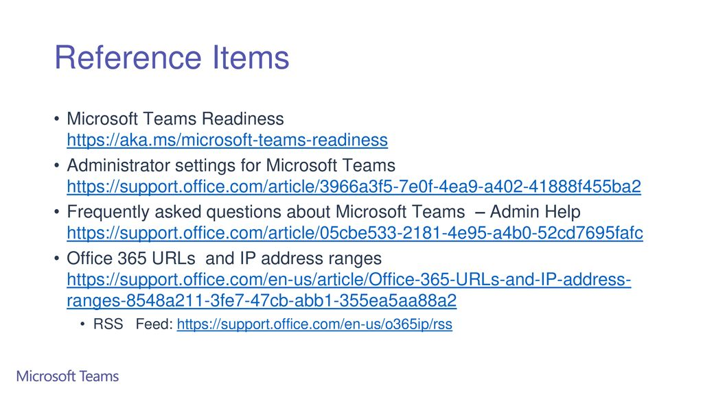 Reference Items Microsoft Teams Readiness