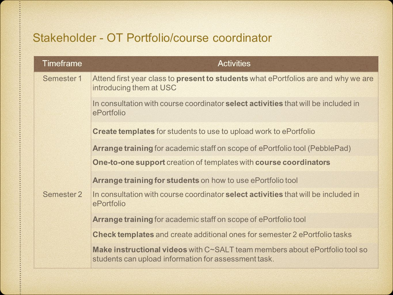 Stakeholder - OT Portfolio/course coordinator