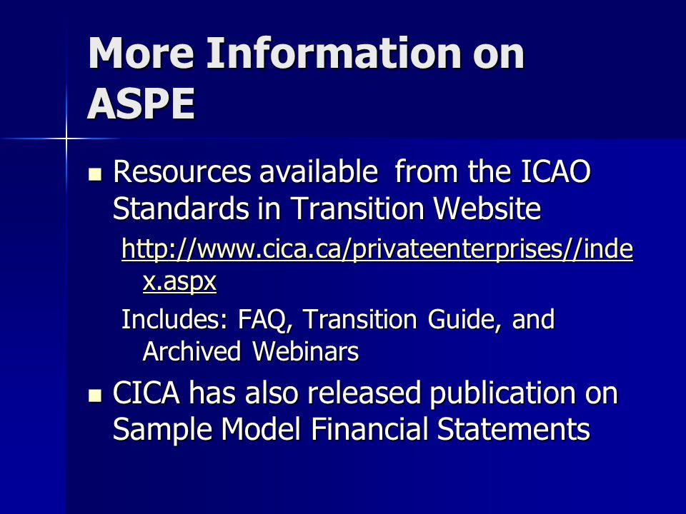 More Information on ASPE