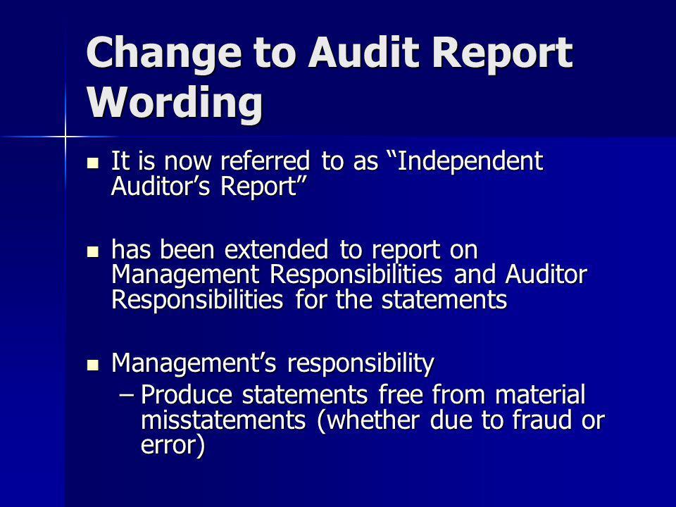Change to Audit Report Wording