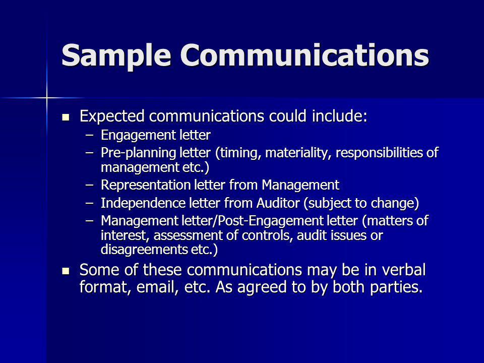 Sample Communications
