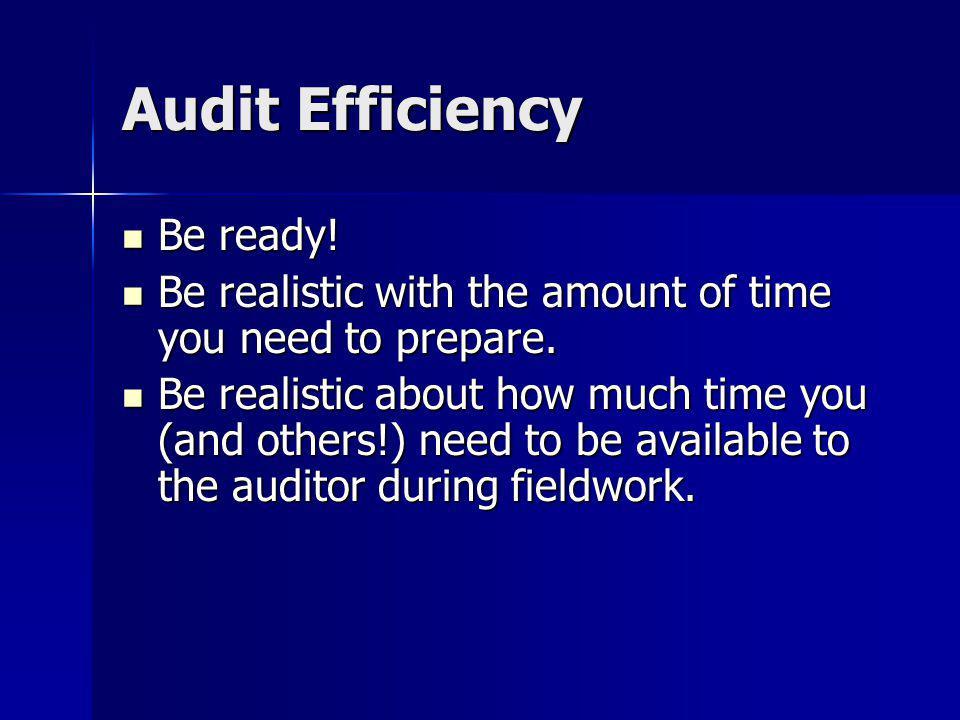 Audit Efficiency Be ready!