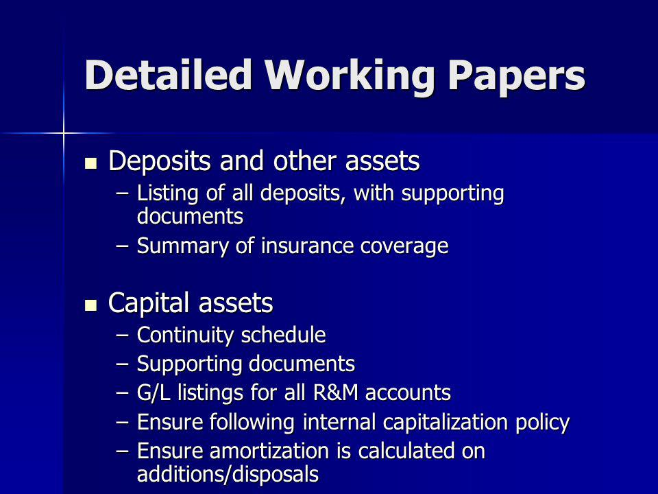 Detailed Working Papers
