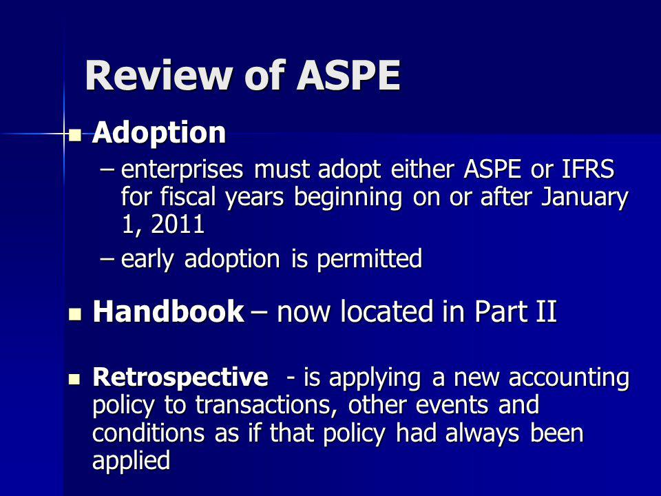 Review of ASPE Adoption Handbook – now located in Part II