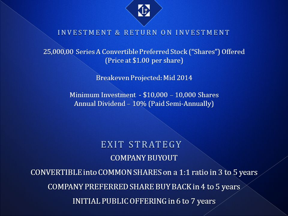 EXIT STRATEGY COMPANY BUYOUT