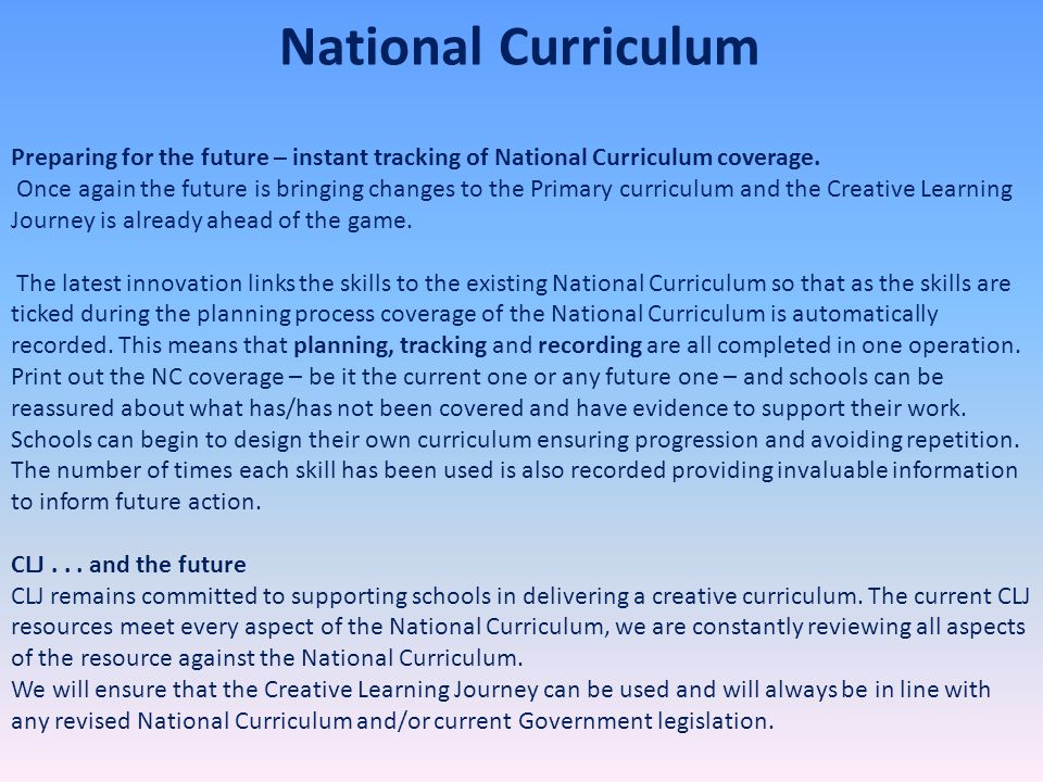 National Curriculum Preparing for the future – instant tracking of National Curriculum coverage.
