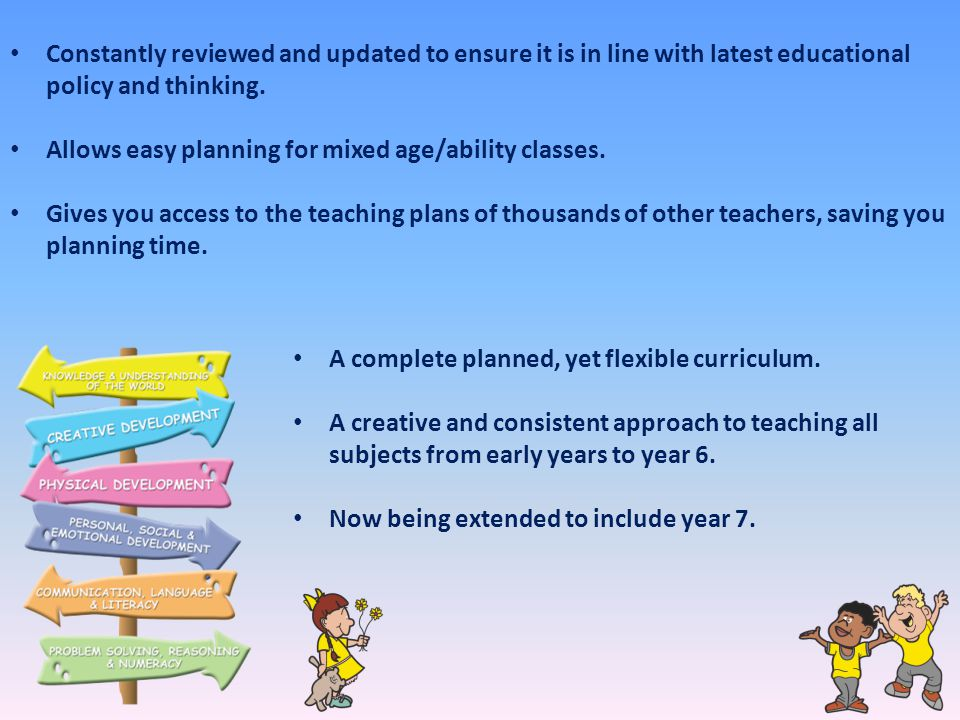 Constantly reviewed and updated to ensure it is in line with latest educational policy and thinking.