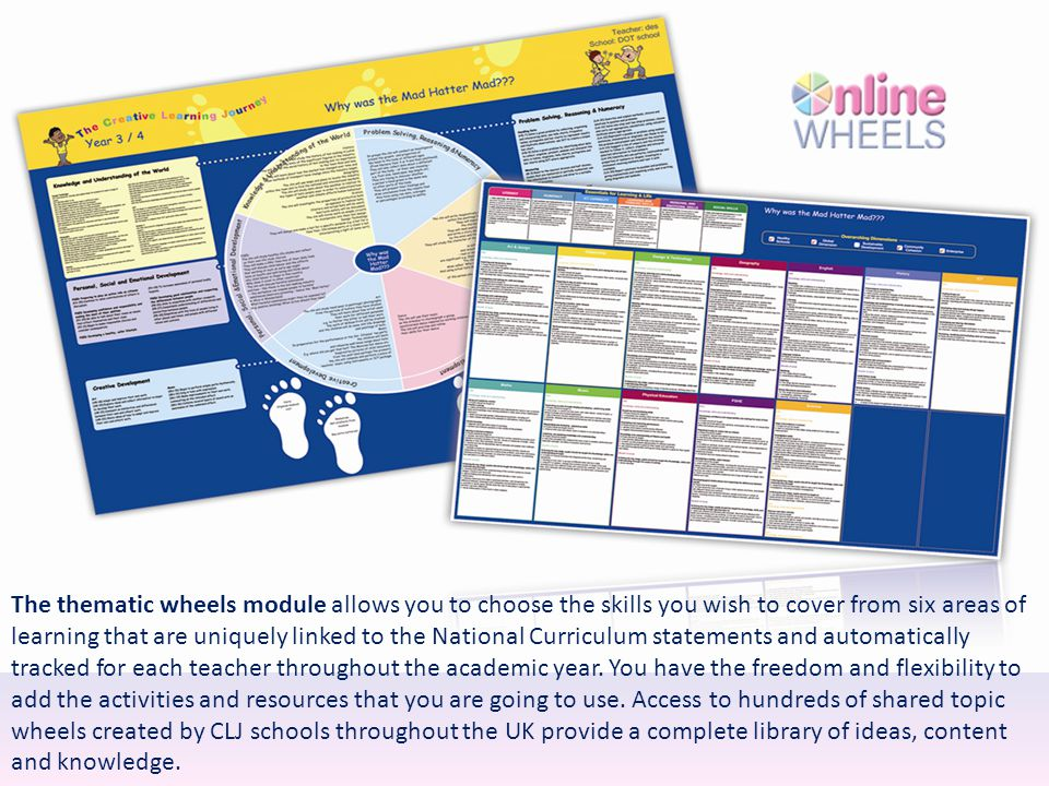 The thematic wheels module allows you to choose the skills you wish to cover from six areas of learning that are uniquely linked to the National Curriculum statements and automatically tracked for each teacher throughout the academic year.
