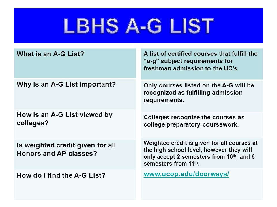 LBHS A-G LIST What is an A-G List Why is an A-G List important