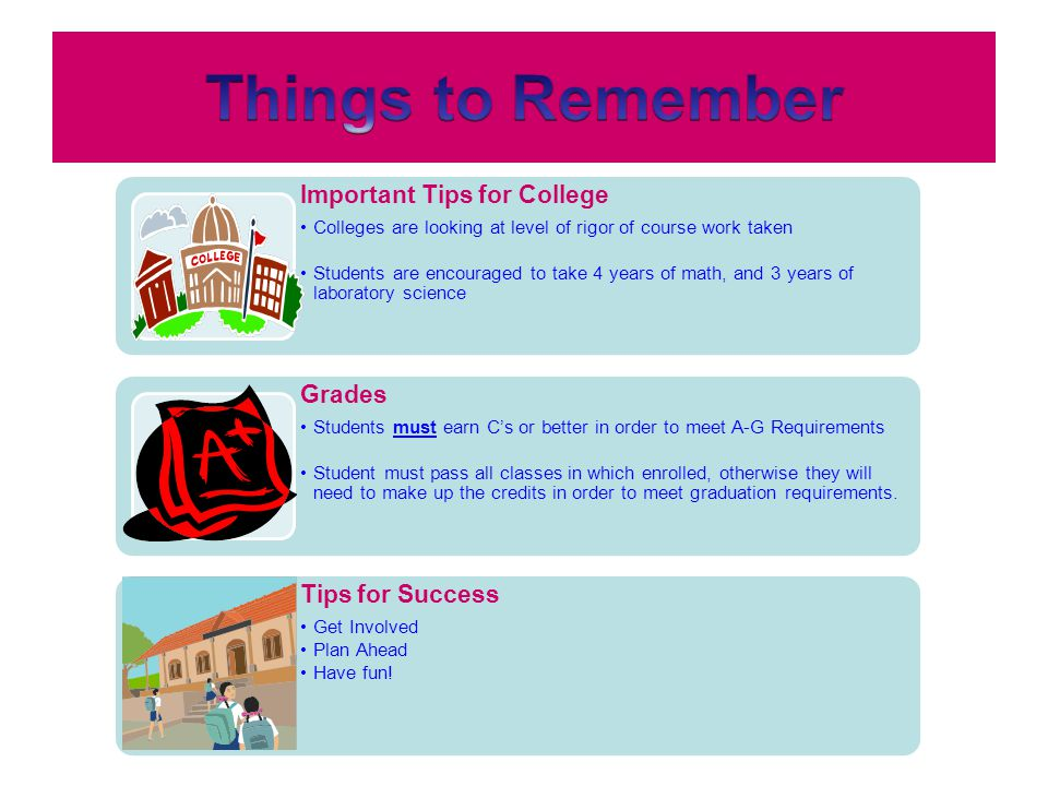 Things to Remember Important Tips for College