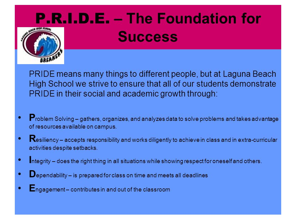 P.R.I.D.E. – The Foundation for Success