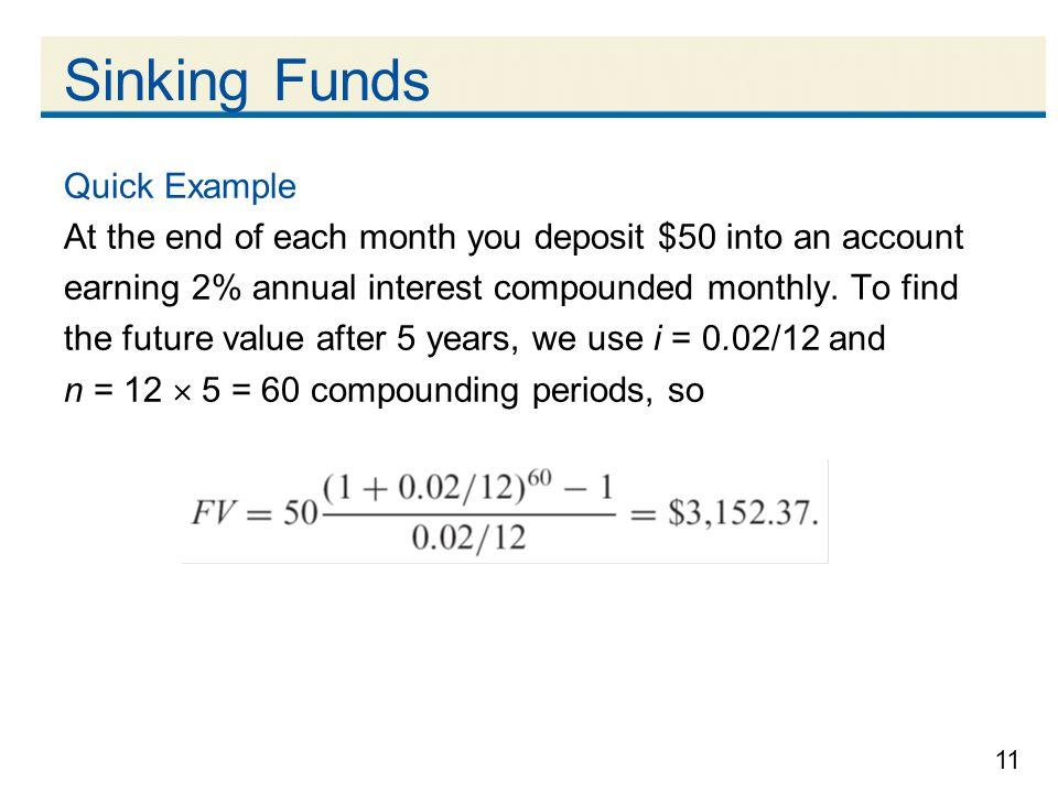 Sinking Funds Quick Example