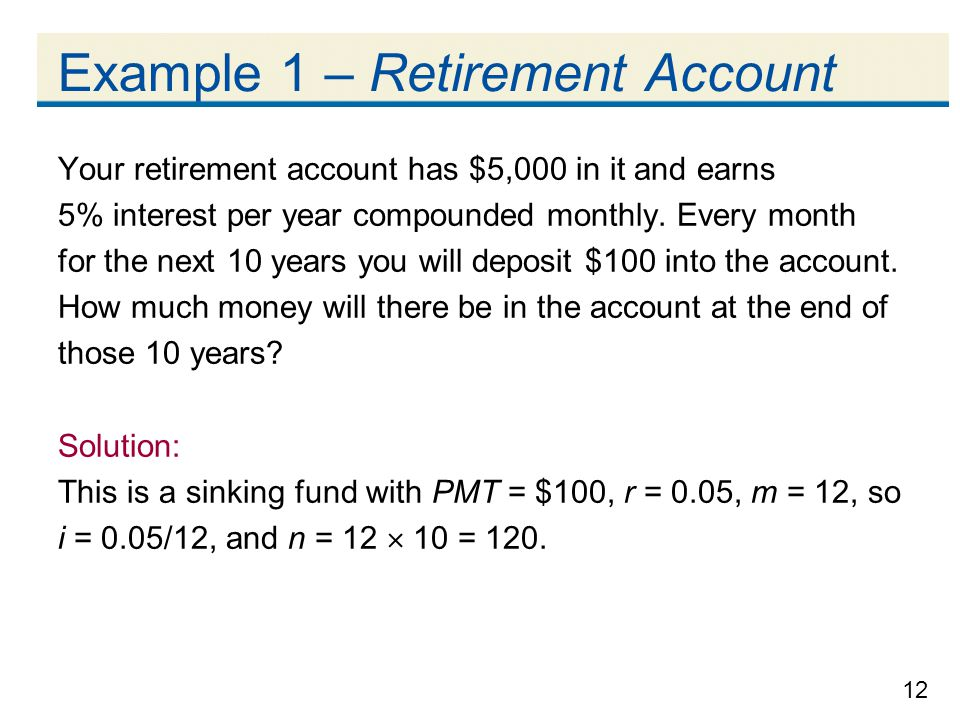 Example 1 – Retirement Account