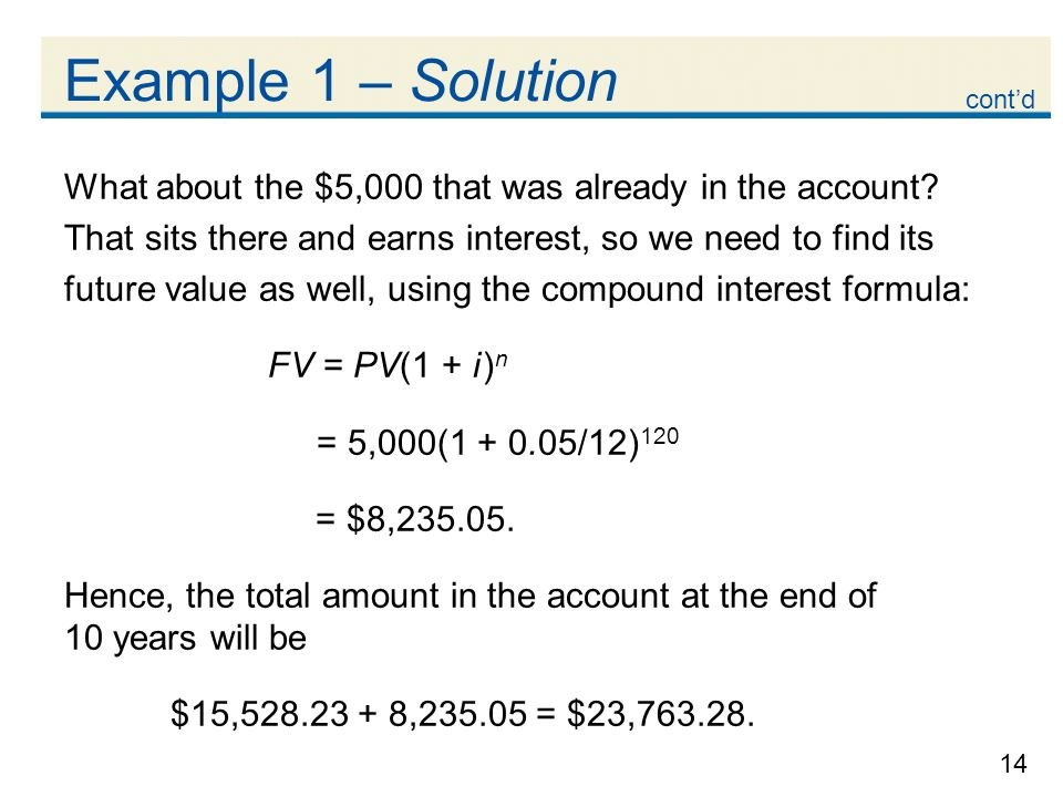 Example 1 – Solution cont'd. What about the $5,000 that was already in the account That sits there and earns interest, so we need to find its.
