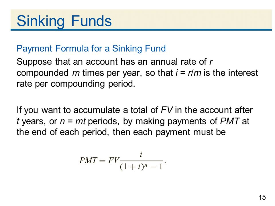 Sinking Funds Payment Formula for a Sinking Fund