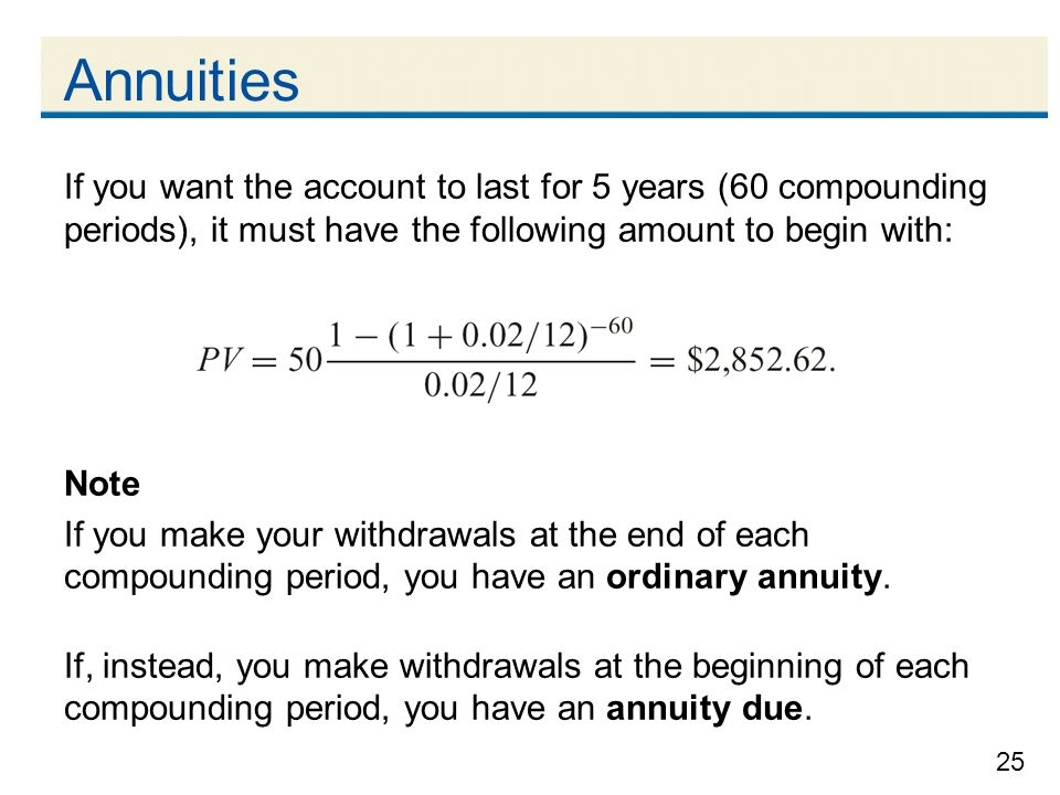 Annuities If you want the account to last for 5 years (60 compounding periods), it must have the following amount to begin with: