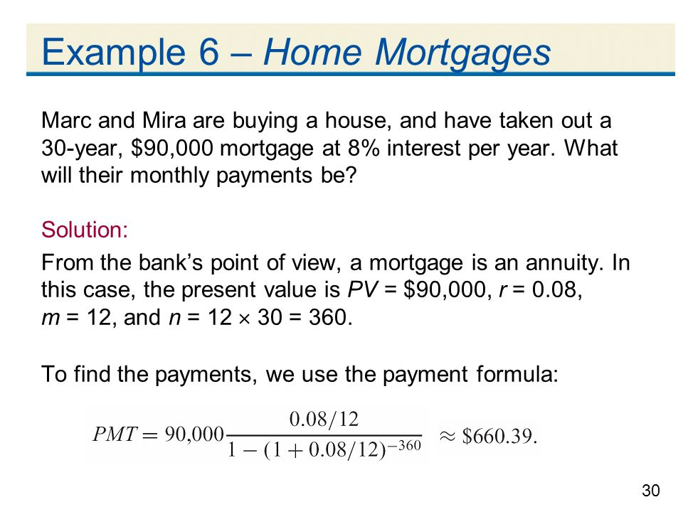 Example 6 – Home Mortgages