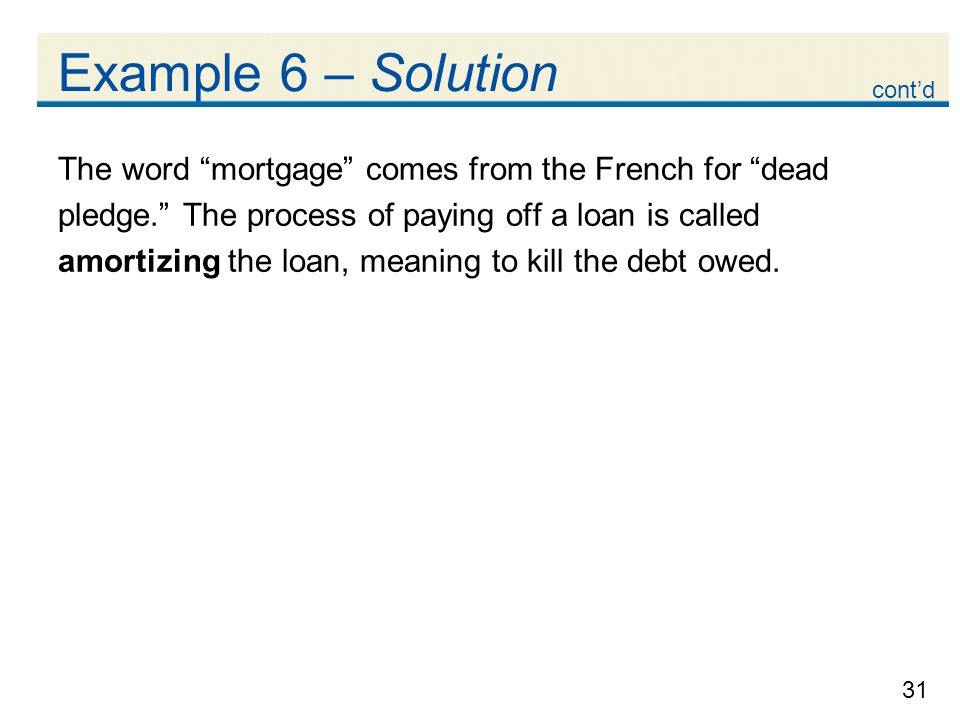 Example 6 – Solution cont'd. The word mortgage comes from the French for dead. pledge. The process of paying off a loan is called.