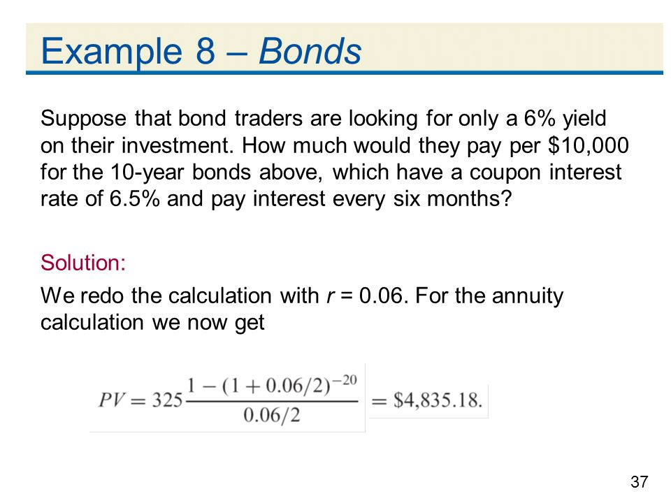 Example 8 – Bonds