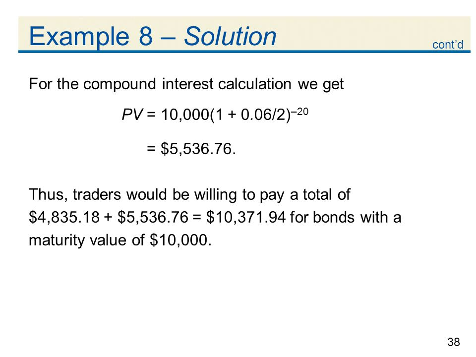 Example 8 – Solution For the compound interest calculation we get