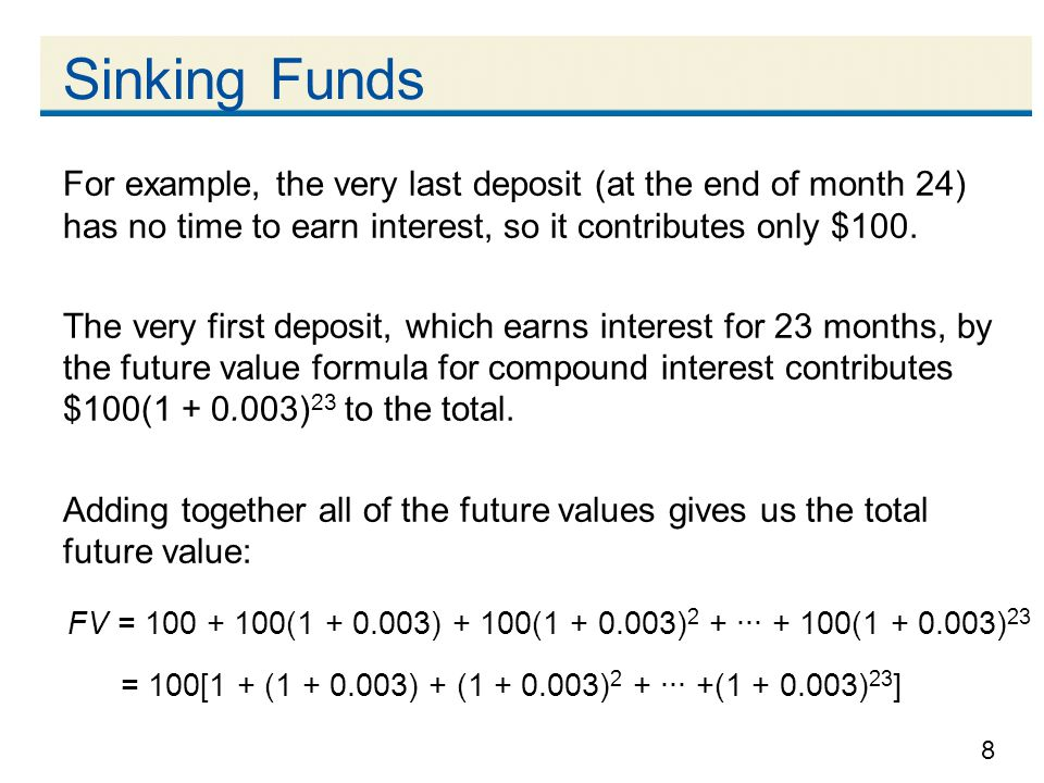 Sinking Funds For example, the very last deposit (at the end of month 24) has no time to earn interest, so it contributes only $100.