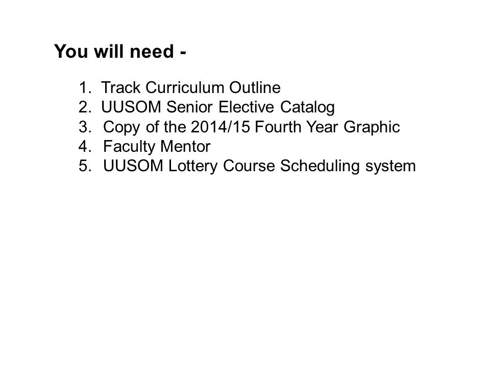 You will need - 1. Track Curriculum Outline