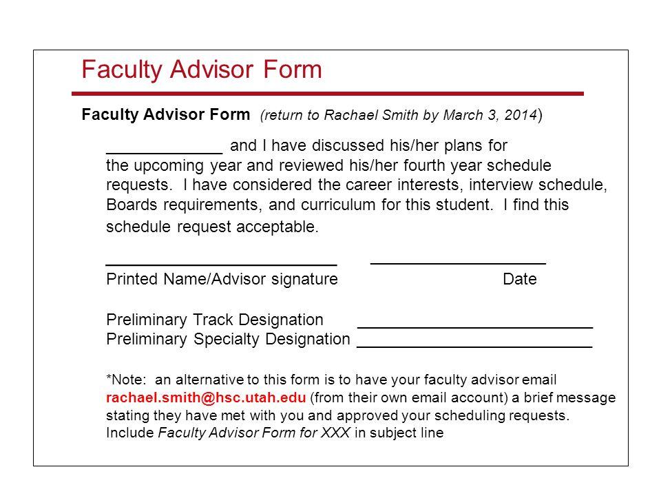 Faculty Advisor Form ________________ _________________