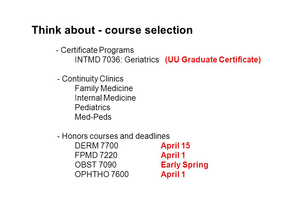 Think about - course selection