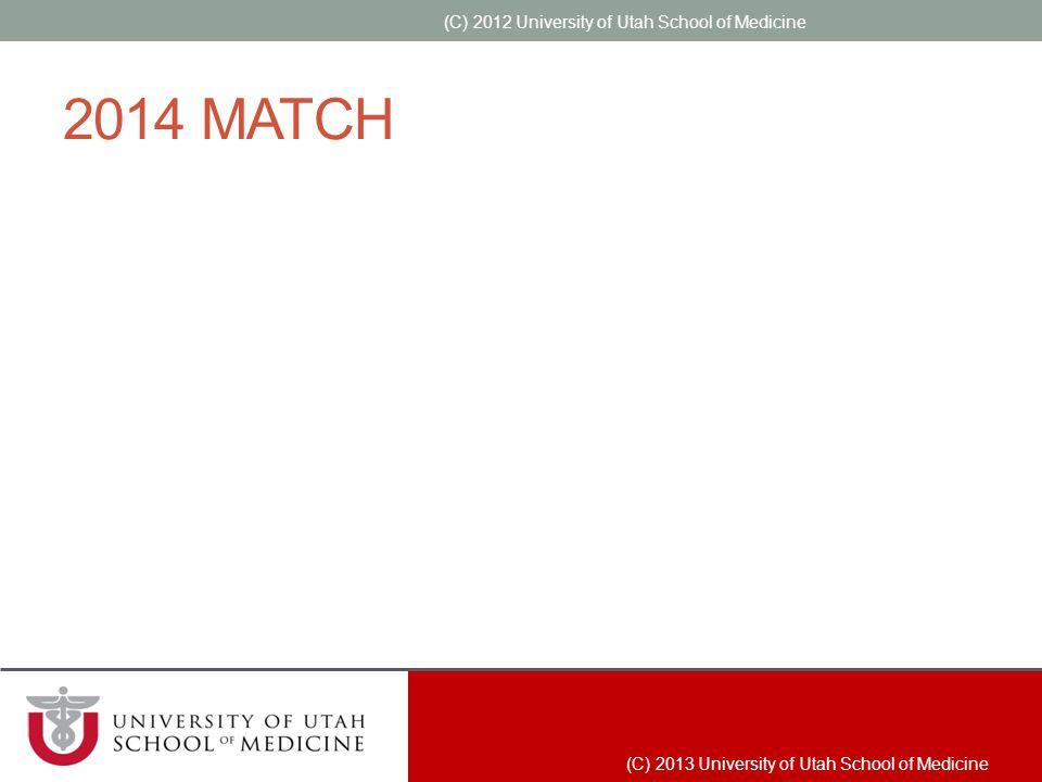 2014 MATCH (C) 2012 University of Utah School of Medicine