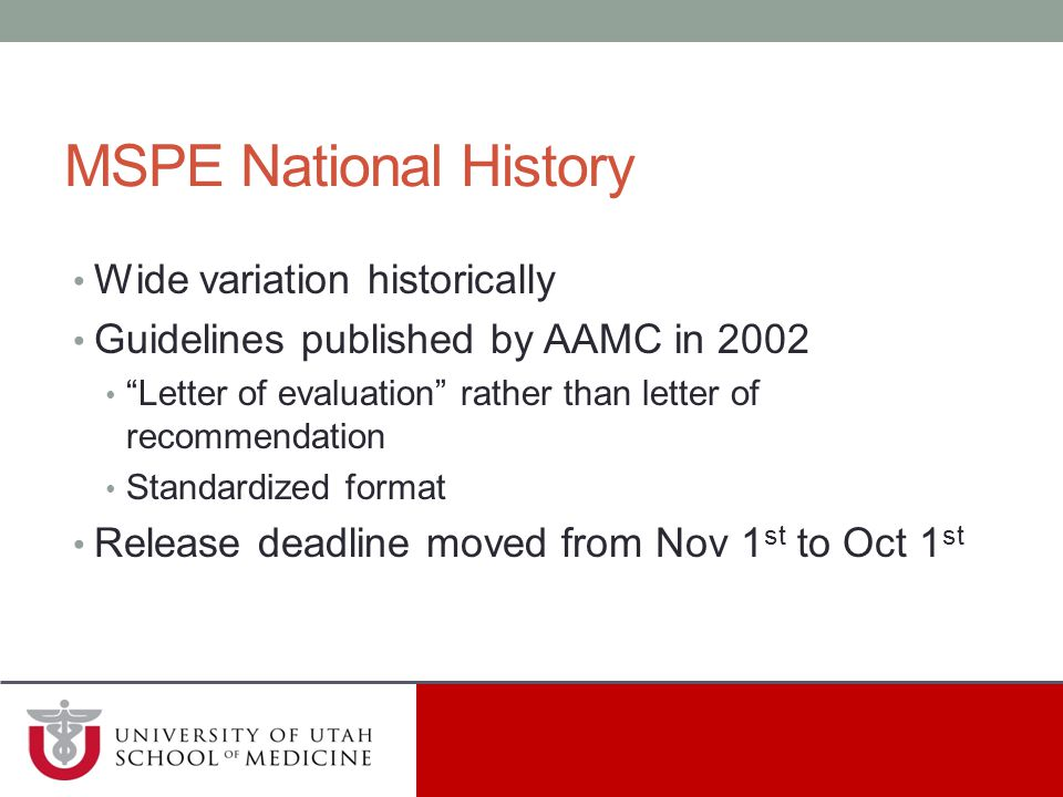 MSPE National History Wide variation historically