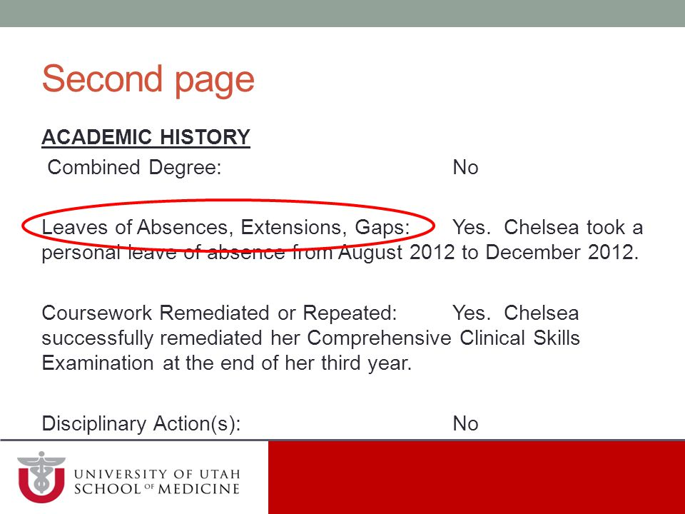Second page ACADEMIC HISTORY Combined Degree: No
